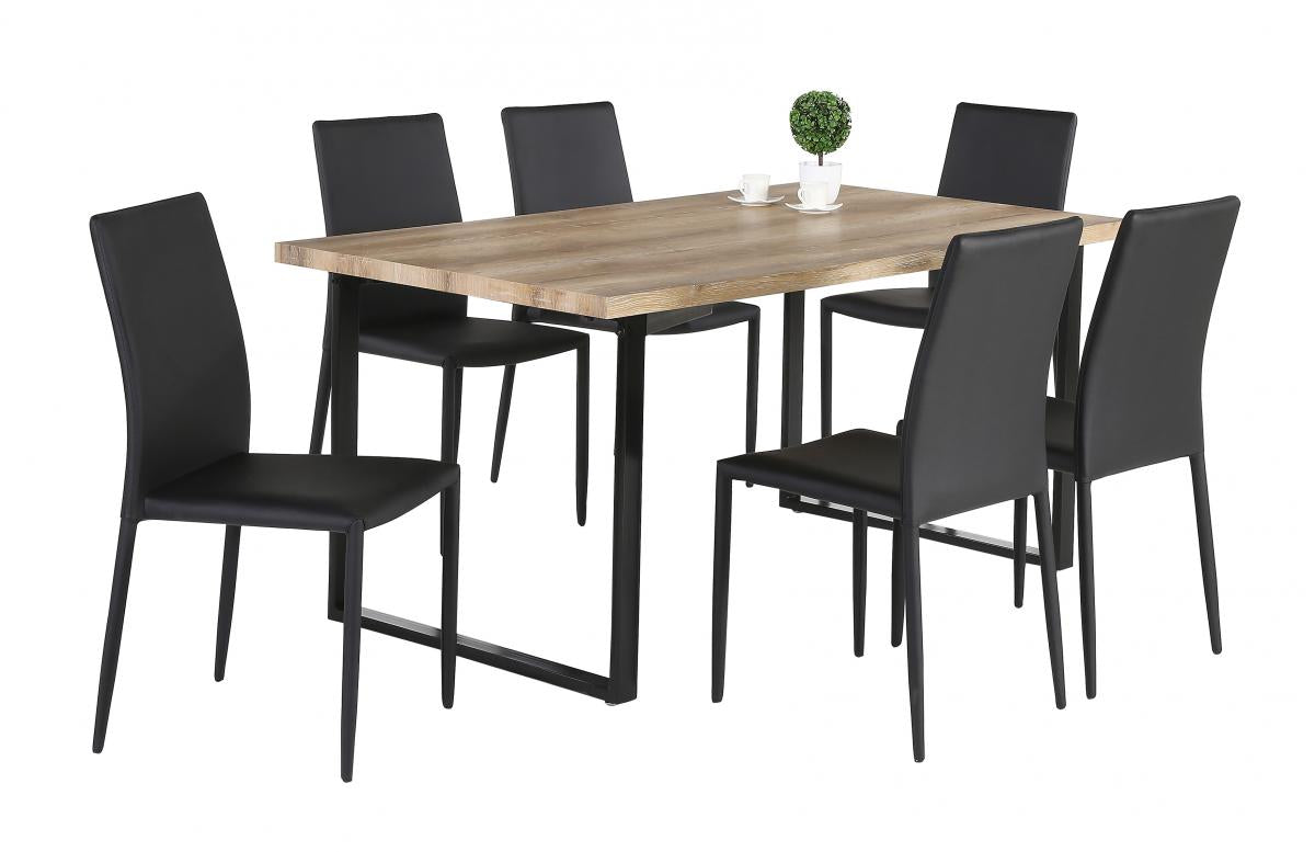 Felix PU Chairs Black with Black Metal Legs (2s)