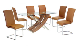 Hanover Glass Dining Table Walnut Colour with 6 Chairs