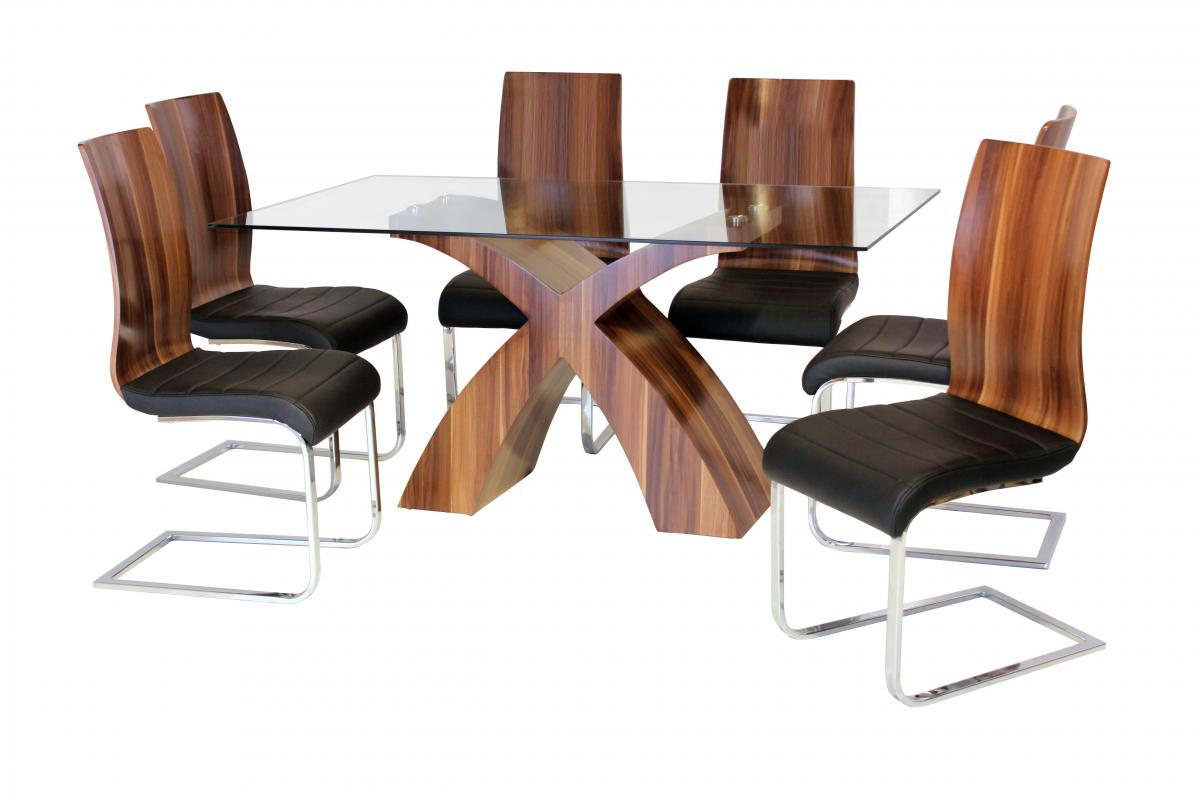 Holte Glass Dining Table Walnut Colour with 6 Chairs