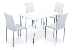 Iris High Gloss Dining Tabe White & Chrome with 4 Chairs
