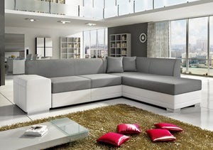 Kos Corner Sofa White PU & Grey Fabric