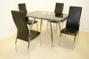 Magna Extending Set Black & Chrome 4 Lazio Chairs