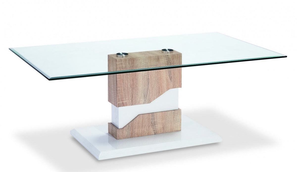 Milton Glass Coffee Table White & Natural