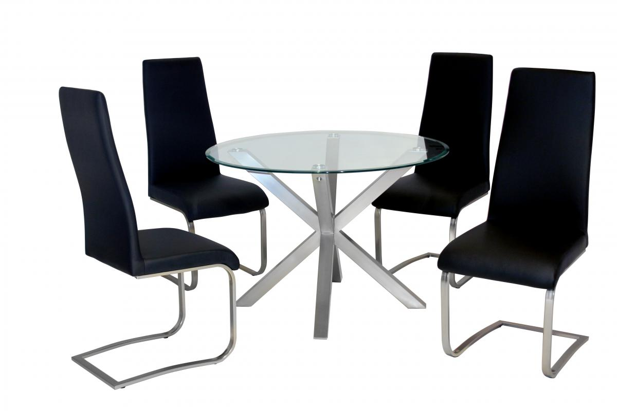 Nelson Dining Table with Brushed Stainless Steel 4 Chairs