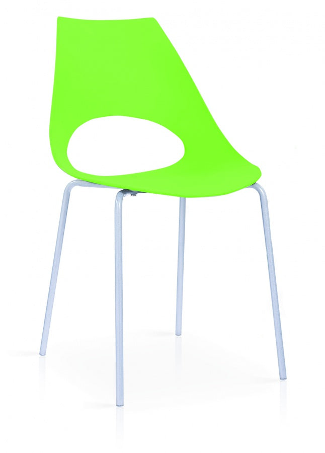 Orchard Plastic (PP) Chairs Green with Metal Legs Chrome