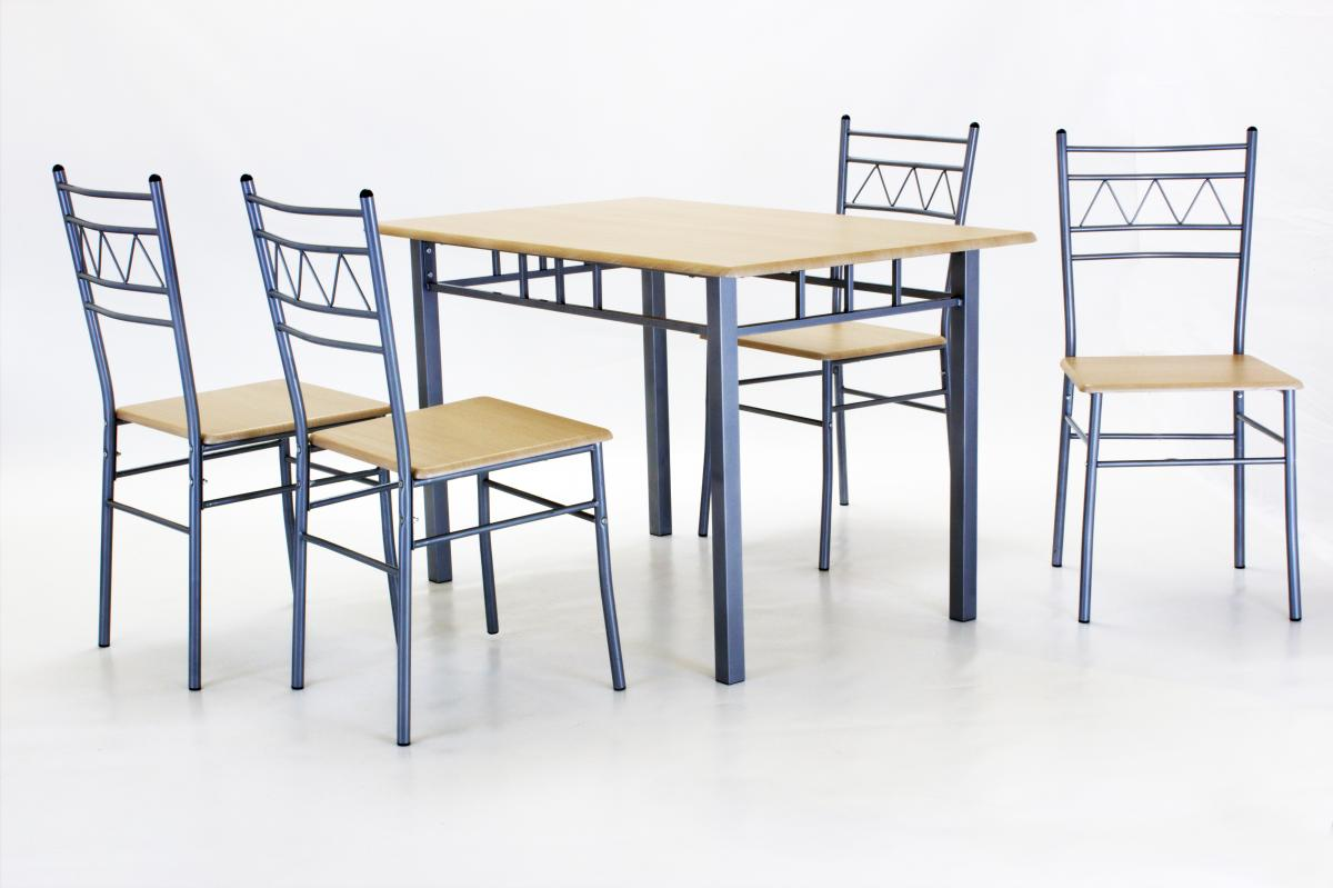 Oslo Dining Set Rectangle with 4 Chairs Silver & Beech