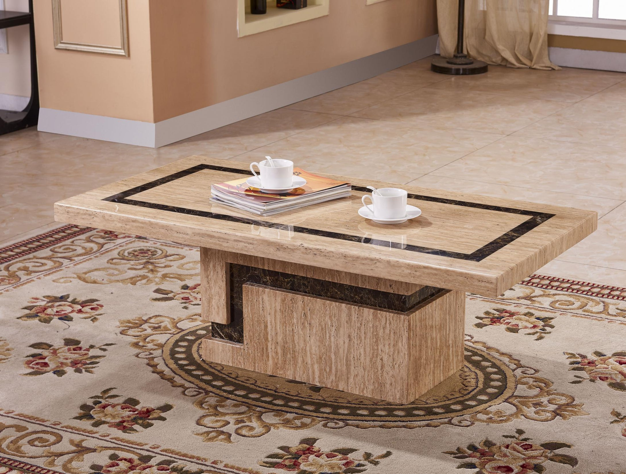 Potenza Marble Coffee Table with Marble Base