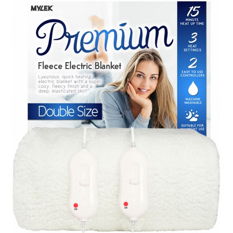 MYLEK Double Size Fully Fitted Fleece Electric Blanket with Dual Controls