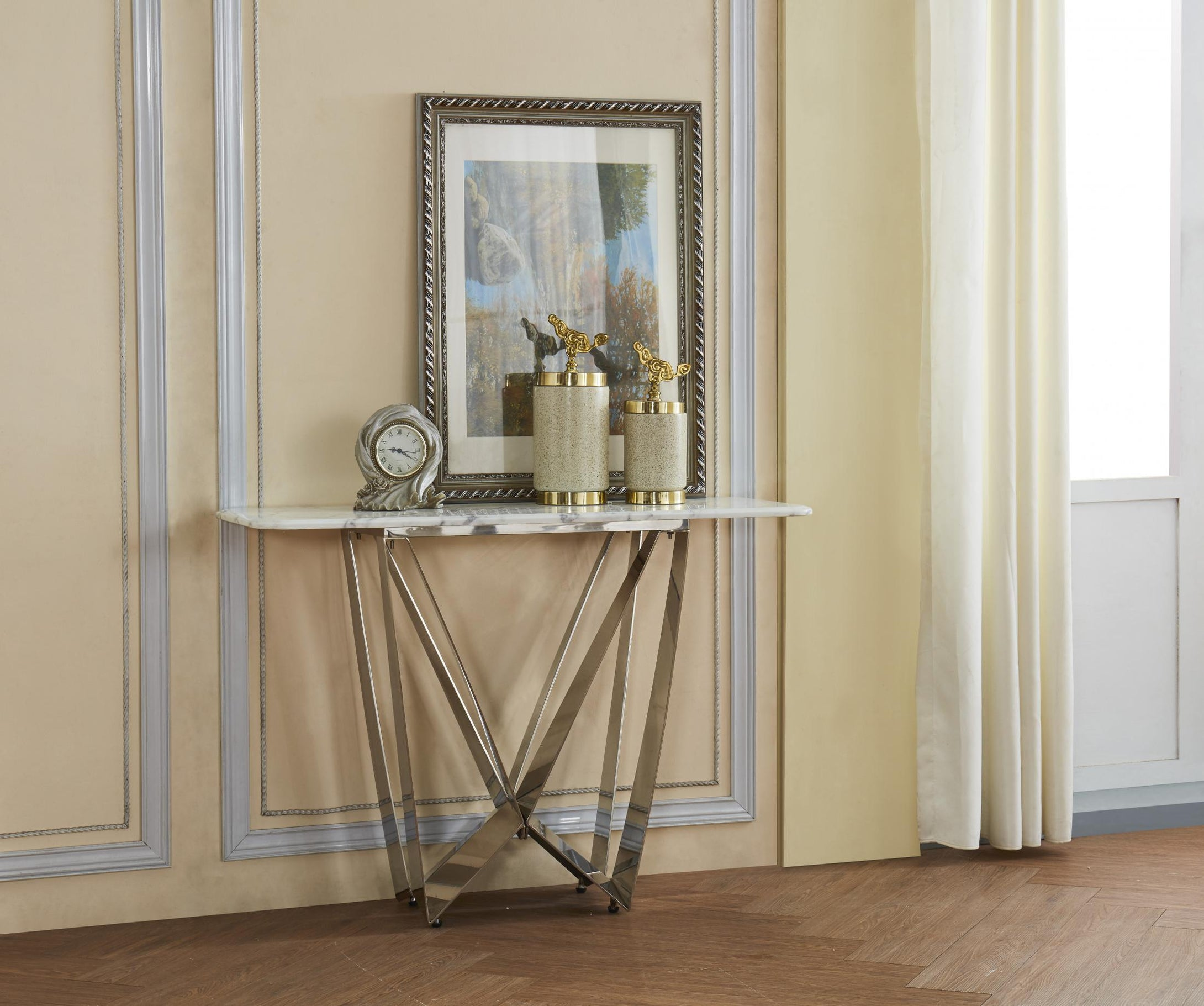 Sardinia Marble Console Table with Stainless Steel Base