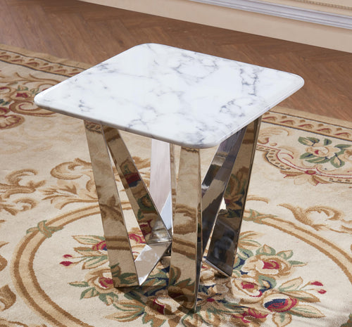 Sardinia Marble Lamp Table with Stainless Steel Base