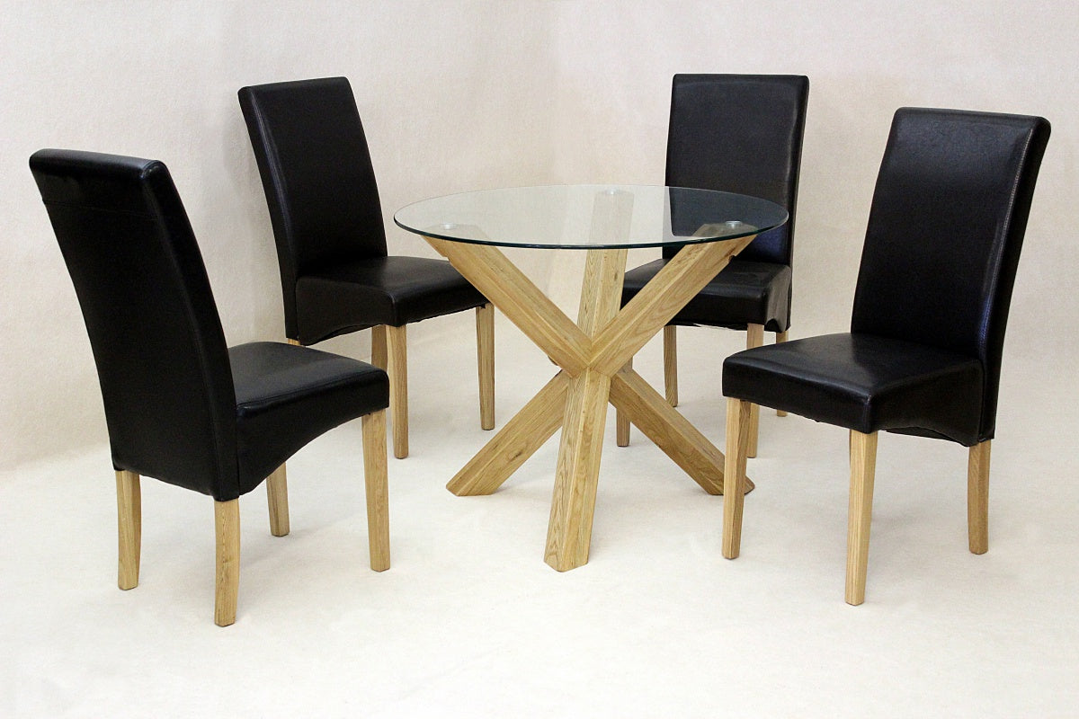 Saturn Small Solid Oak Dining Table Glass 950mm Round with 4 Chairs