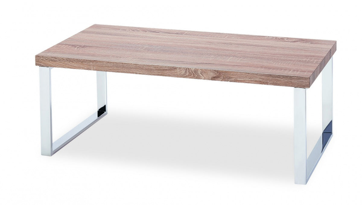 Talbot Coffee Table Natural with Stainless Steel Legs