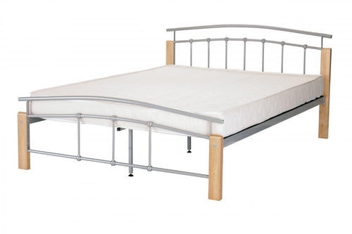 Tetras King Size Bed Silver & Beech