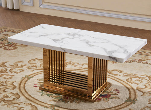 Tuscany Marble Coffee Table with Stainless Steel Base