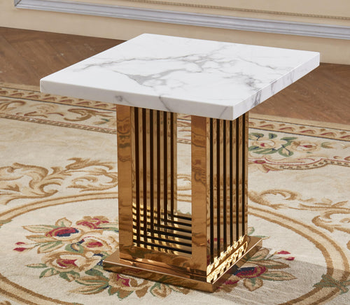 Tuscany Marble Lamp Table with Stainless Steel Base