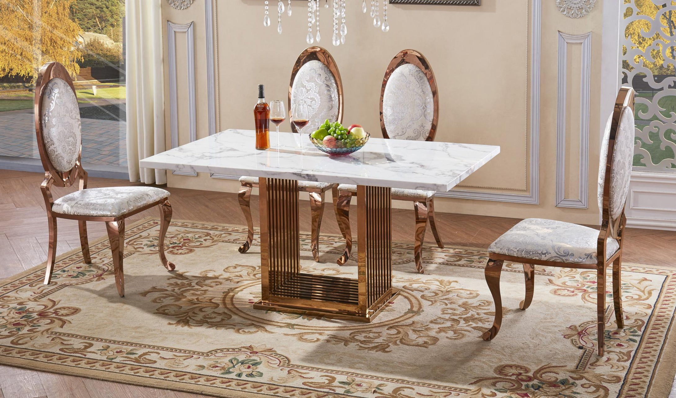 Tuscany Marble Dining Table with Stainless Steel Base