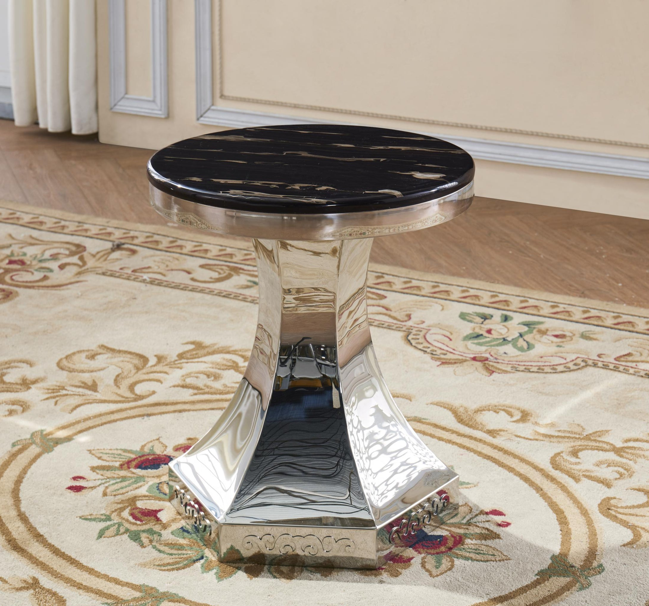 Vasto Marble Lamp Table with Stainless Steel Base