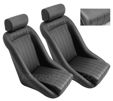 Retro Classic Vintage Bucket Seats with Perforated Faux Leather