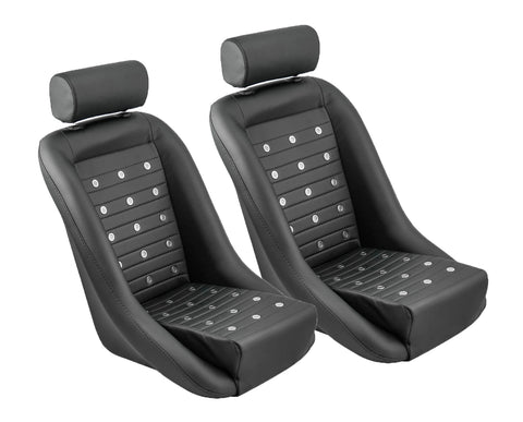 Retro Classic Vintage Bucket Seats with Faux Leather and Grommets