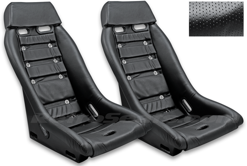 R1 Retro Classic Vintage Racing Bucket Seats (Perforated w/ Grommets) - Pair