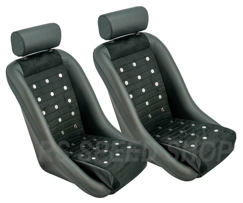 Retro Classic Vintage Bucket Seats with Micro Suede and Grommets