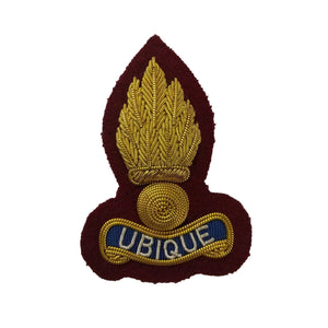 Beret Badge - Royal Engineers - Bullion Wire - Grenade on Maroon