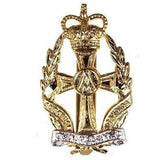 Cap Badge - QARANC - 2-pce,  brass, nickel plate scroll