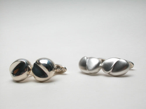 Cuff-links in sterling silver. Shown with cuff-links CL014 (right) $480.00