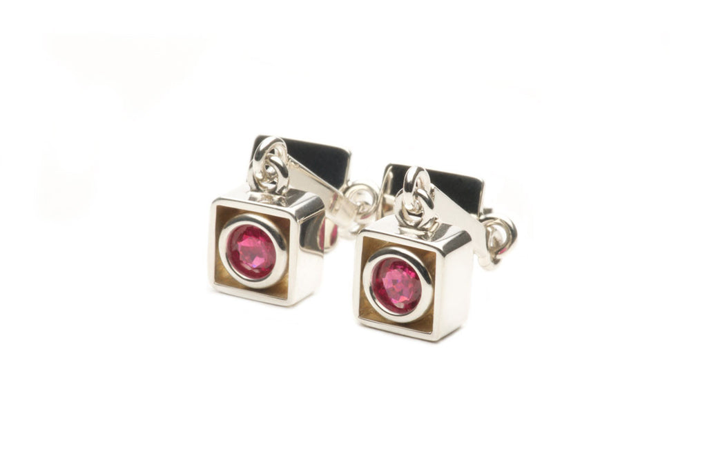 Custom made earrings in sterling silver with 1.21ct pink-red fine Rubies. Price inquiry. $0.00