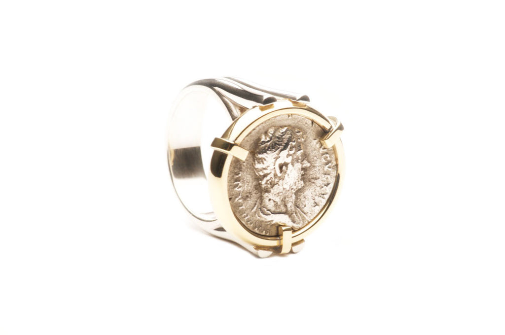 Custom made ring with a genuine silver Hadrian Roman Coin set in eighteen karat gold, ring shank sterling silver. $0.00