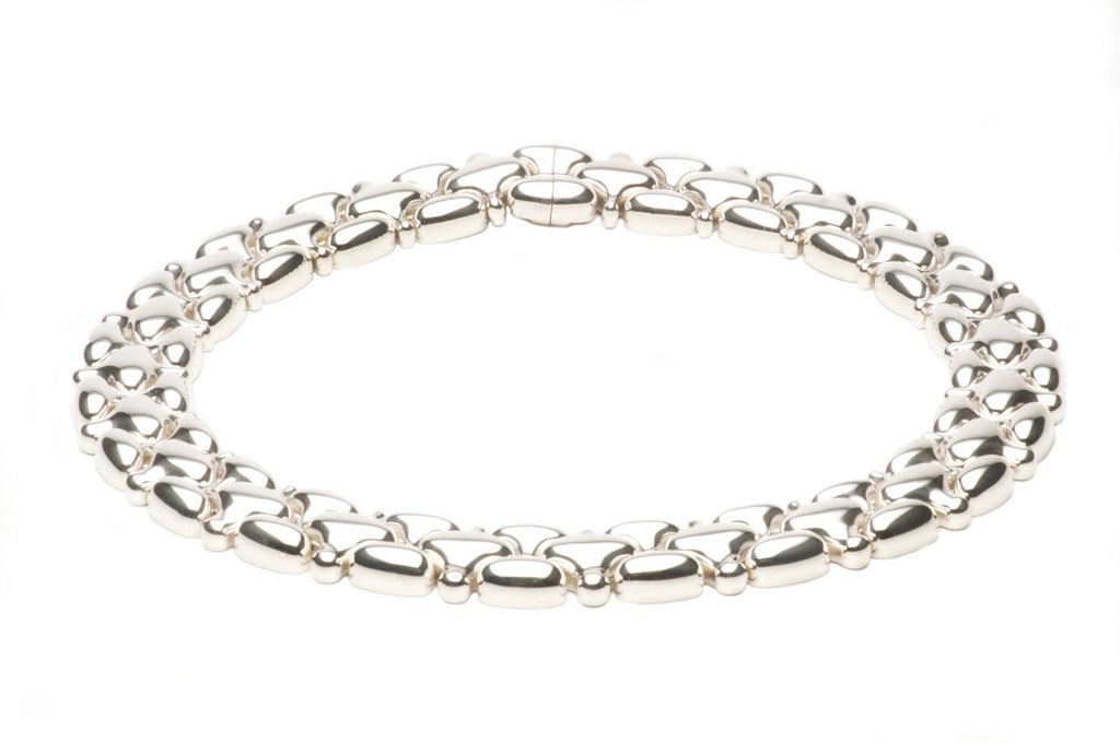 Sterling silver link necklace with our concealed luxurious magnetic clasp. $3,400.00