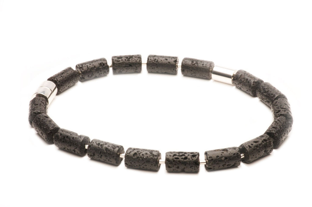 Lava rock and sterling silver, with a signature magnetic clasp. $890.00
