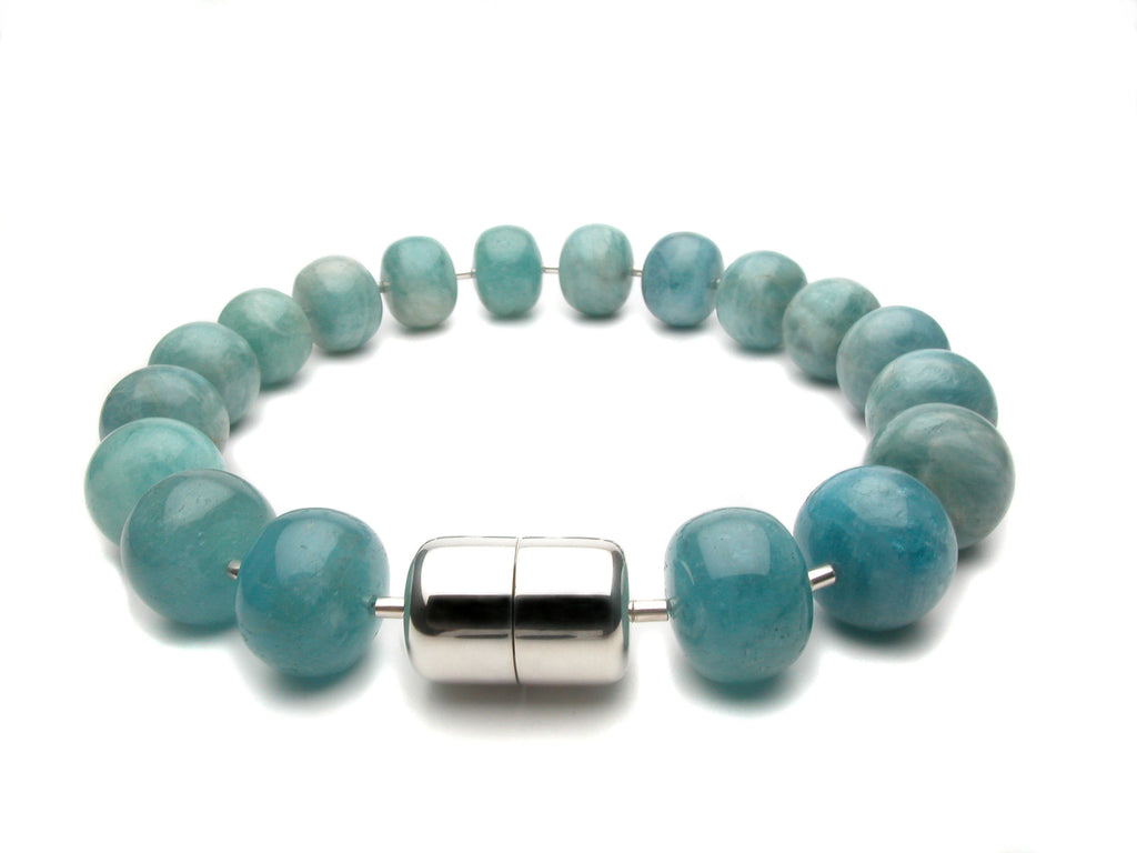 Aquamarine, 25mm roundel beads with our signature magnetic clasp in sterling silver. Price upon request. $0.00
