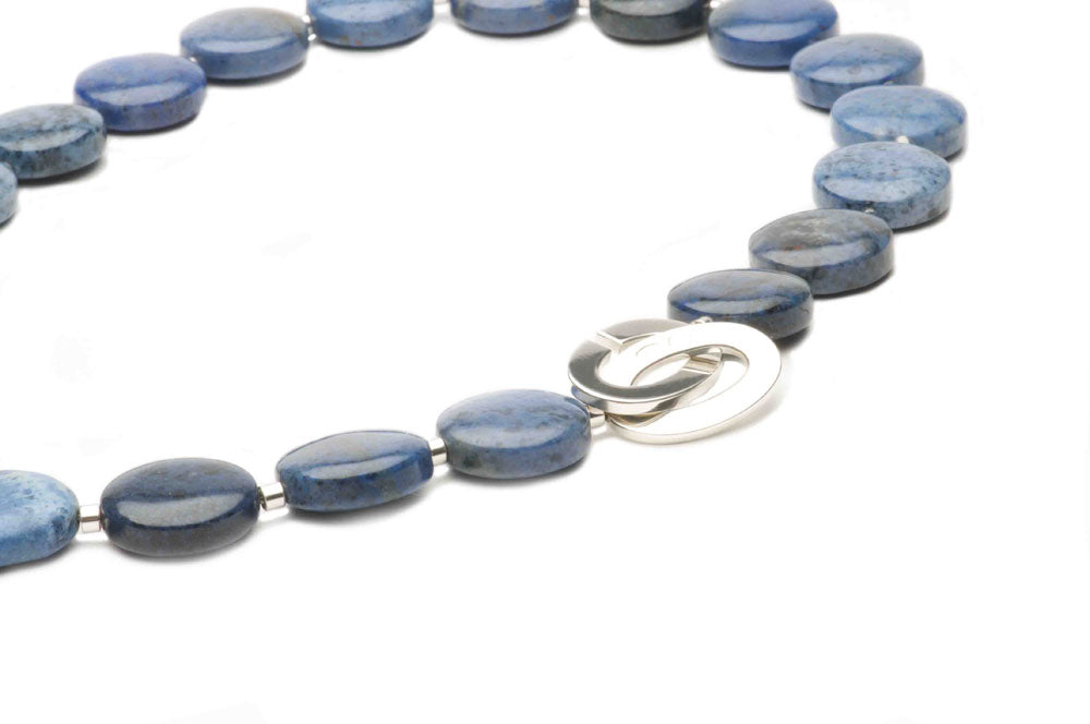 Dumortierite roundels and sterling silver. $760.00