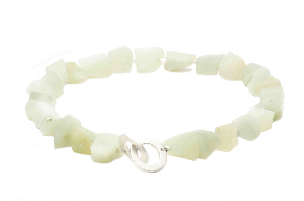Prehnite irregularly cut beads and sterling silver, puzzle clasp. $640.00