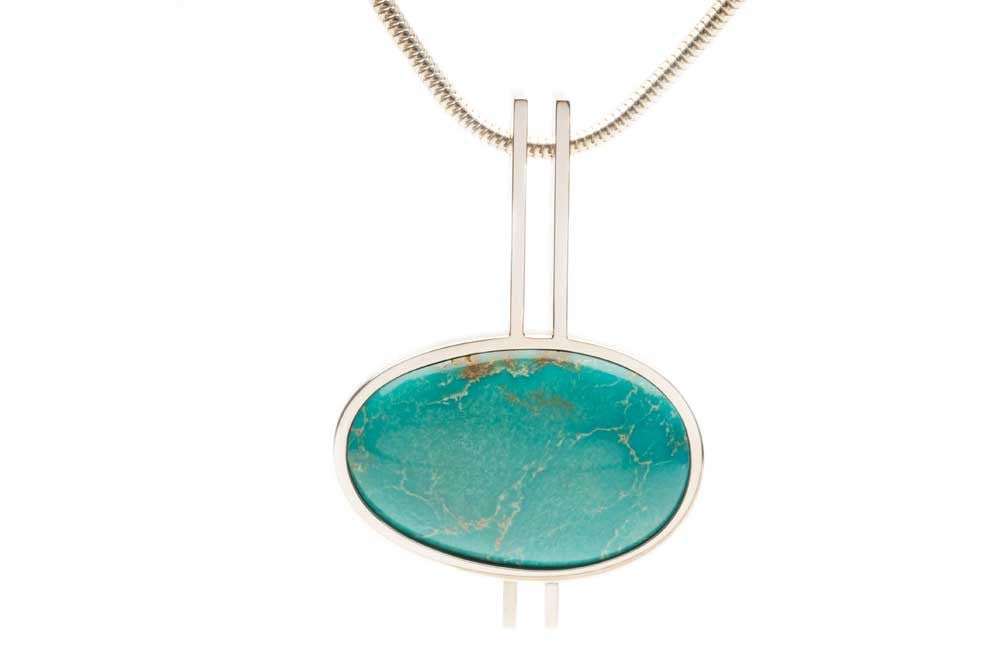 One-of-a-kind Turquoise pendant in sterling silver. Price inquiry. $0.00