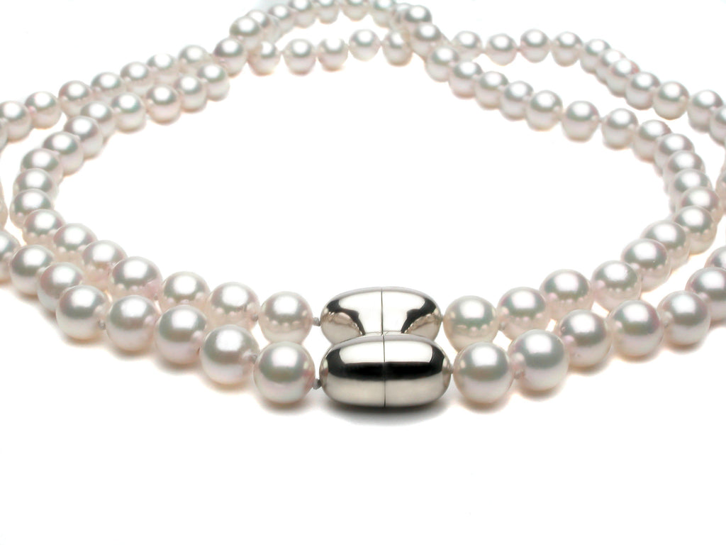 Double strand of exceptional lustrous pearls connected with our FESTIVE magnetic clasp in sterling silver or eighteen karat gold. Price upon request. $0.00