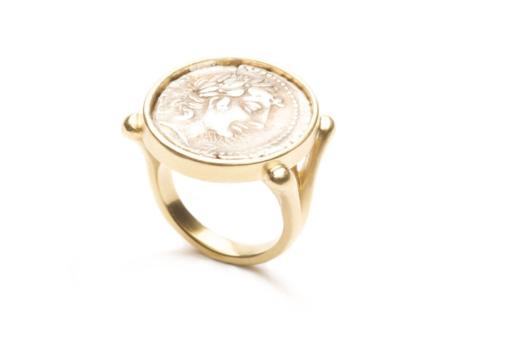 Eighteen karat gold ring with a gold Roman coin, custom work. $0.00