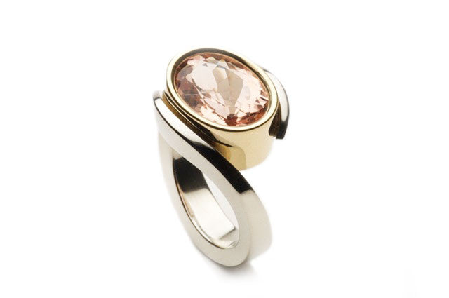 Eighteen karat gold ring combined, white and yellow, holding a nearly 7.0 ct Beryl-Morganite fine gemstone, colour peach-pink. Custom work. Price inquiry. $0.00