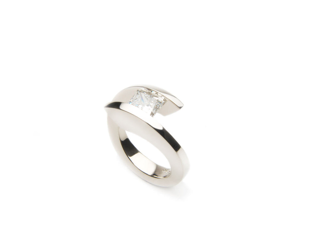 Tension ring VIRTUOSO in eighteen karat white gold with a 2.0 carat Princess cut diamond. Price inquiry. $0.00