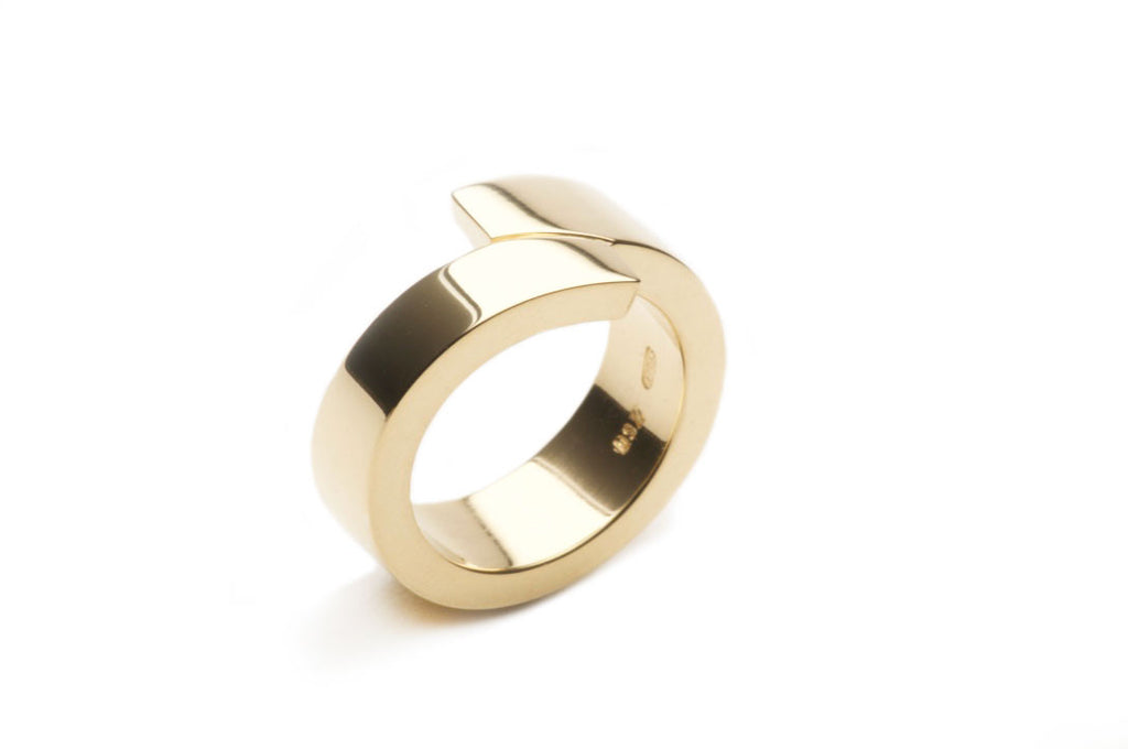Eighteen karat yellow gold ring, highly polished or satin matte.  $2,450.00