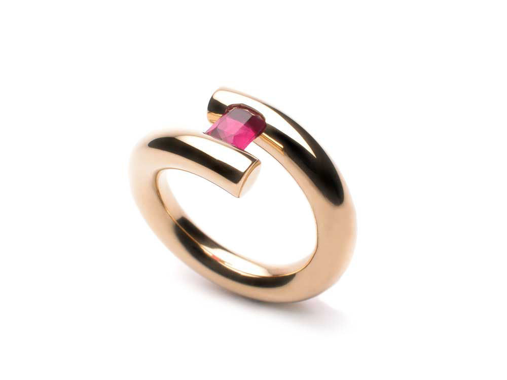 Tension ring in eighteen karat yellow gold holding a Ruby 1.12 ct. $6,250.00