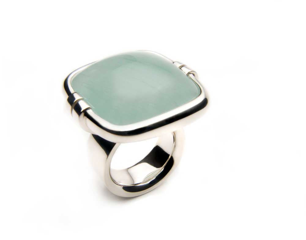A superb and substantial ring in sterling silver with a translucent Aquamarine of 52cts. Price inquiry. $0.00
