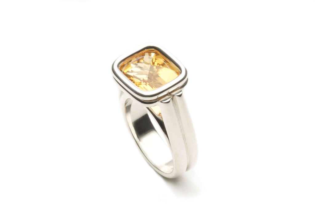 Ring R060 in sterling silver with Citrine, size 11 x 9 mm, emerald cut. $1,280.00