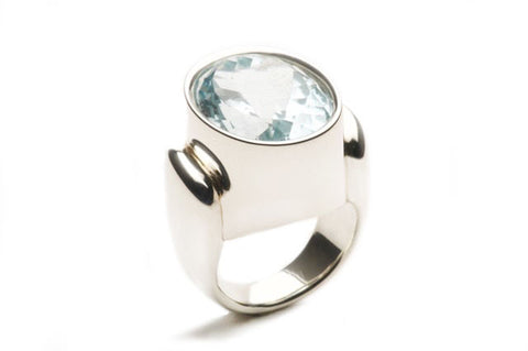 Ring R custom with Blue Topaz