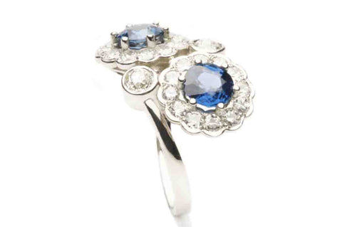 Ring ANTIQUE with Sapphires and Diamonds