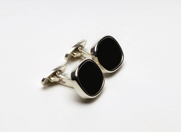 Cuff-links in sterling silver with black Onyx. $510.00