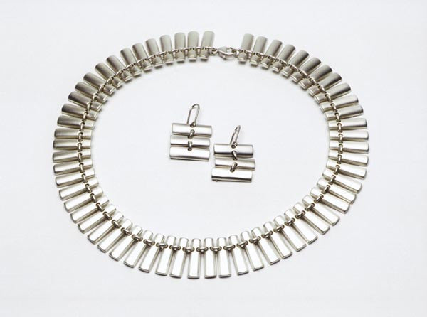 Sterling silver link necklace shown with matching earrings E055 $1,750.00