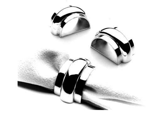 Custom made napkin rings in solid sterling silver. Price upon request. $0.00