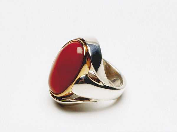 Mediterranean Coral, sterling silver and eighteen karat gold. Price inquiry. $0.00
